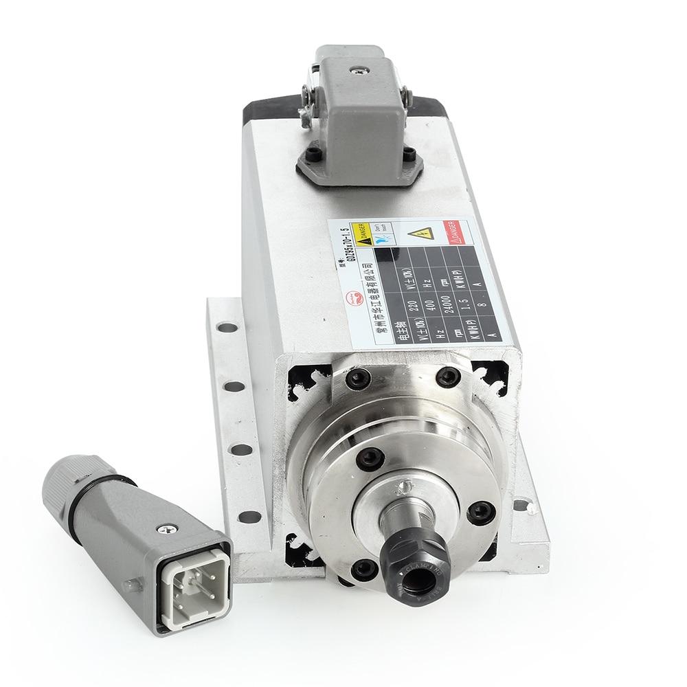 Free Shipping 1.5kw Air-cooled Spindle Motor kit Set CNC Spindle Motor + 220V/1.5KW Inverter Square CNC Milling Machine Motor