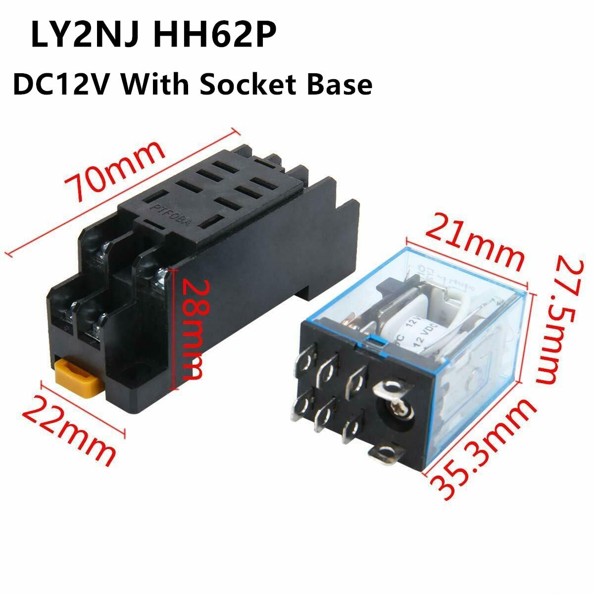 Реле мощности для катушки LY2NJ DPDT, миниатюрное реле 8Pin DC12V DC24V AC110V AC220V HH62P, серия с линейным преобразователем питания для двигателей серии HH62P