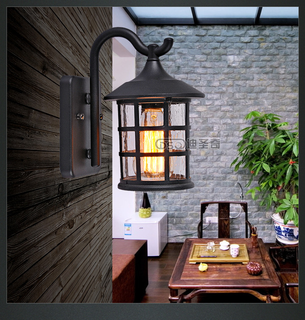 Antique Rustic Iron Waterproof Outdoor Wall Lamp Vintage