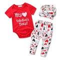 Conjunto de roupas Meninas do bebê Meu primeiro dia Dos Namorados Menina Romper manga longa + calça + headwear Infantil bebe roupas conjuntos de pano criança