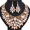 Promotion African Luxury Full Leaf shaped Crystal Necklace and Earrings for Women Wedding Prom Jewelry Sets