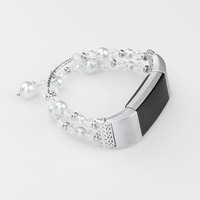 Elegant Bangle For Fit Bit Charge 2 Bands Replacement Pearl Diamond Metal Strap Silver Color
