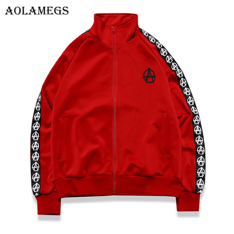 Aolamegs Men's Jacket Side Striped Graphics Couple Bomber Jacket Turtleneck Outwear Men's Coat Bomb Baseball Jackets Brand 2018 striped trim fluffy panel bomber jacket