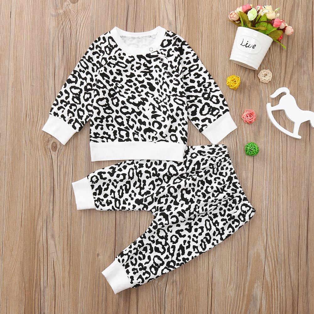 Otoño 2018, conjunto de ropa con estampado de leacord para bebé, Camiseta de algodón de manga larga a la moda + Pantalones, conjunto para bebé recién nacido 827