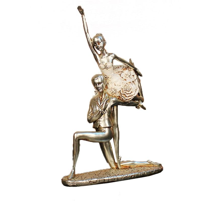 Style européen Art bureau salon décor créatif résine beauté abstraite ballerine danseur Statue artisanat ameublement cadeaux