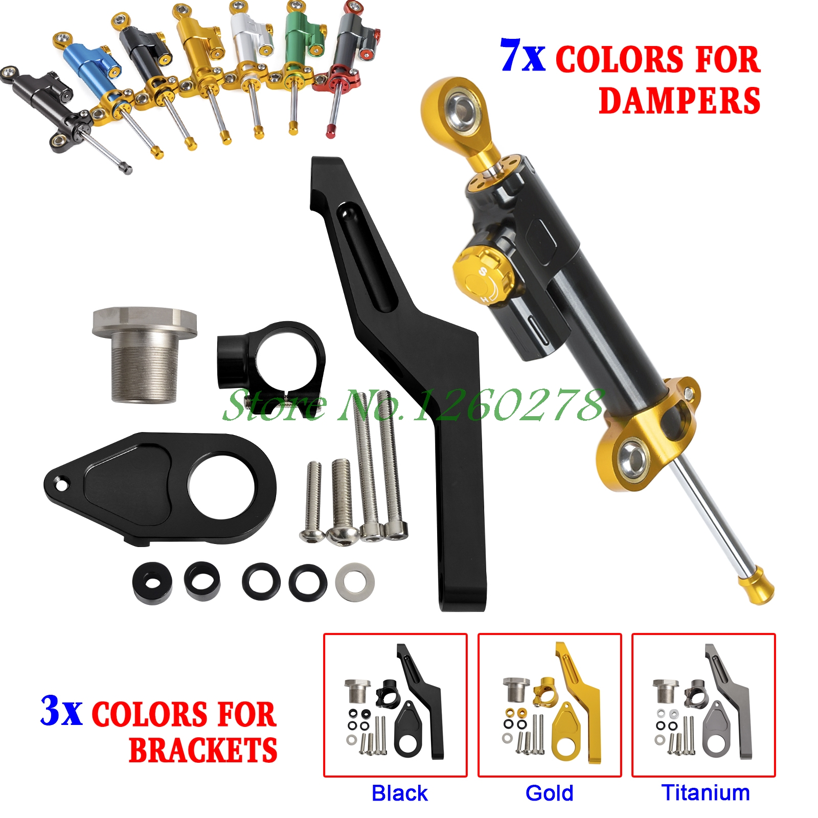 Motorcycle CNC Steering Damper Stabilizer & Bracket For Kawasaki Ninja ZX-6R/ABS ZX636 2013 2014 2015 2016 steering damper stabilizer bracket mounting holder for kawasaki ninja zx6r zx 6r 2009 2016 2010 2015 gold