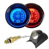 2 52mm Water Temperature Gauge 12V Car Blue Red LED Light Tint Lens Auto Digital Temp
