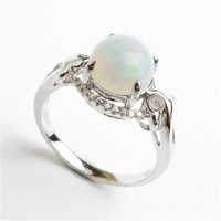 Party Wedding 925 Sterling Silver Jewelry Rings For Women Genuine Natural Opal Gems Stone Engagement Ring Size 7.5