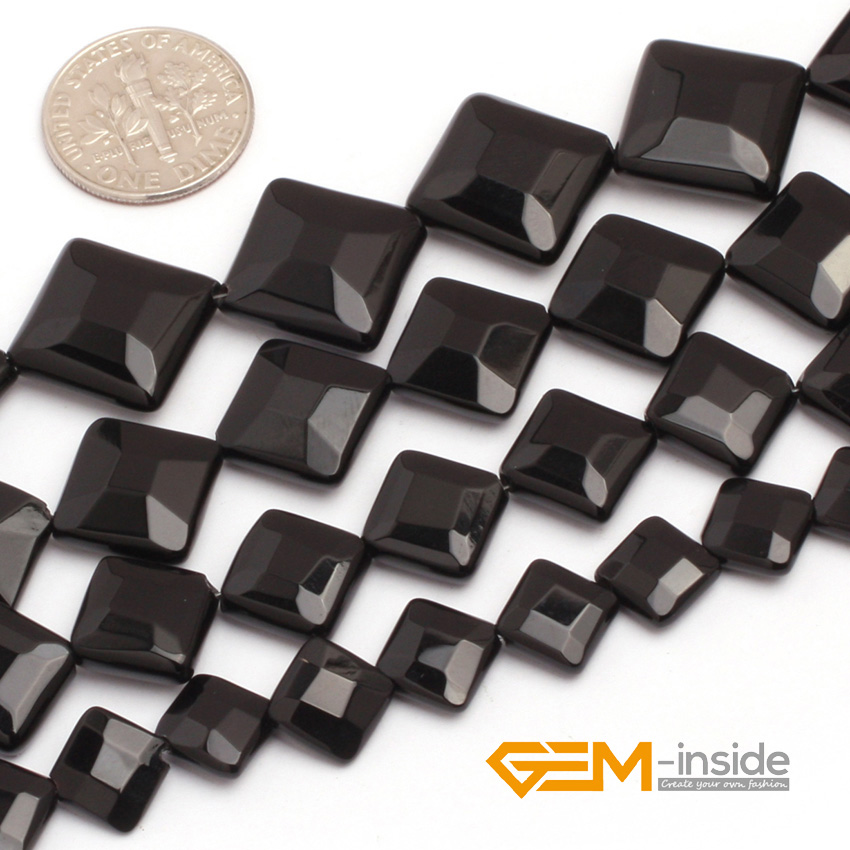 Black agat Diagonal Square Faceted Beads Natural Stone Beads DIY loose Bead For Jewelry Making Strand 15 Free Shipping
