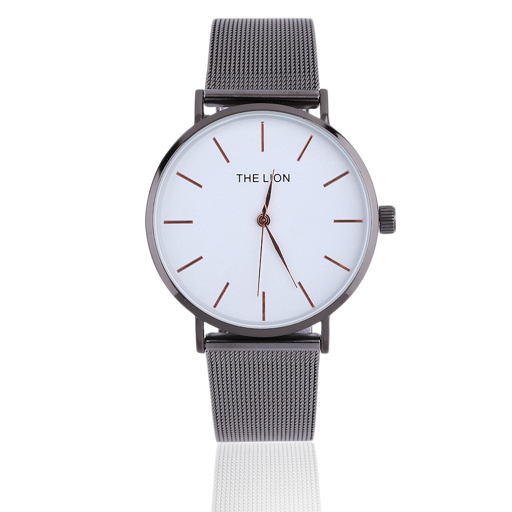 Lover's Ultra Thin Mesh Belt Quartz Watch Stainless Steel Band Casual Fashion Round Case Wristwatch Perfect Gifts For Women Men