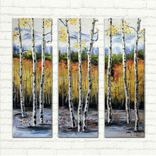 Hand Painted Triptych  Birch Tree  Fall Landscape Oil Painting Palette Knife Art  On Canvas For Decoration