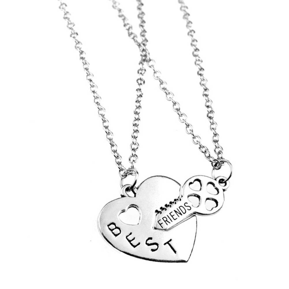 New arrival fashion sliver jewelry double chain best friend necklace broken heart key pendant necklaces 32789803081