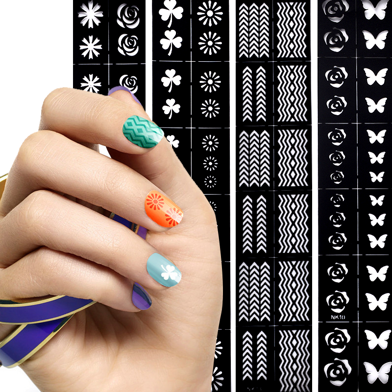 FWC 1 Sheet Nail Art Tips Guide Hollow Sticker Acrylic Crystal French Manicure Template 3D Stencil Decals Form Styling Tool 06 39 mixed styles nails tips polish printing beauty decals multipurpose nail art hollow template stickers makeup stencil tool