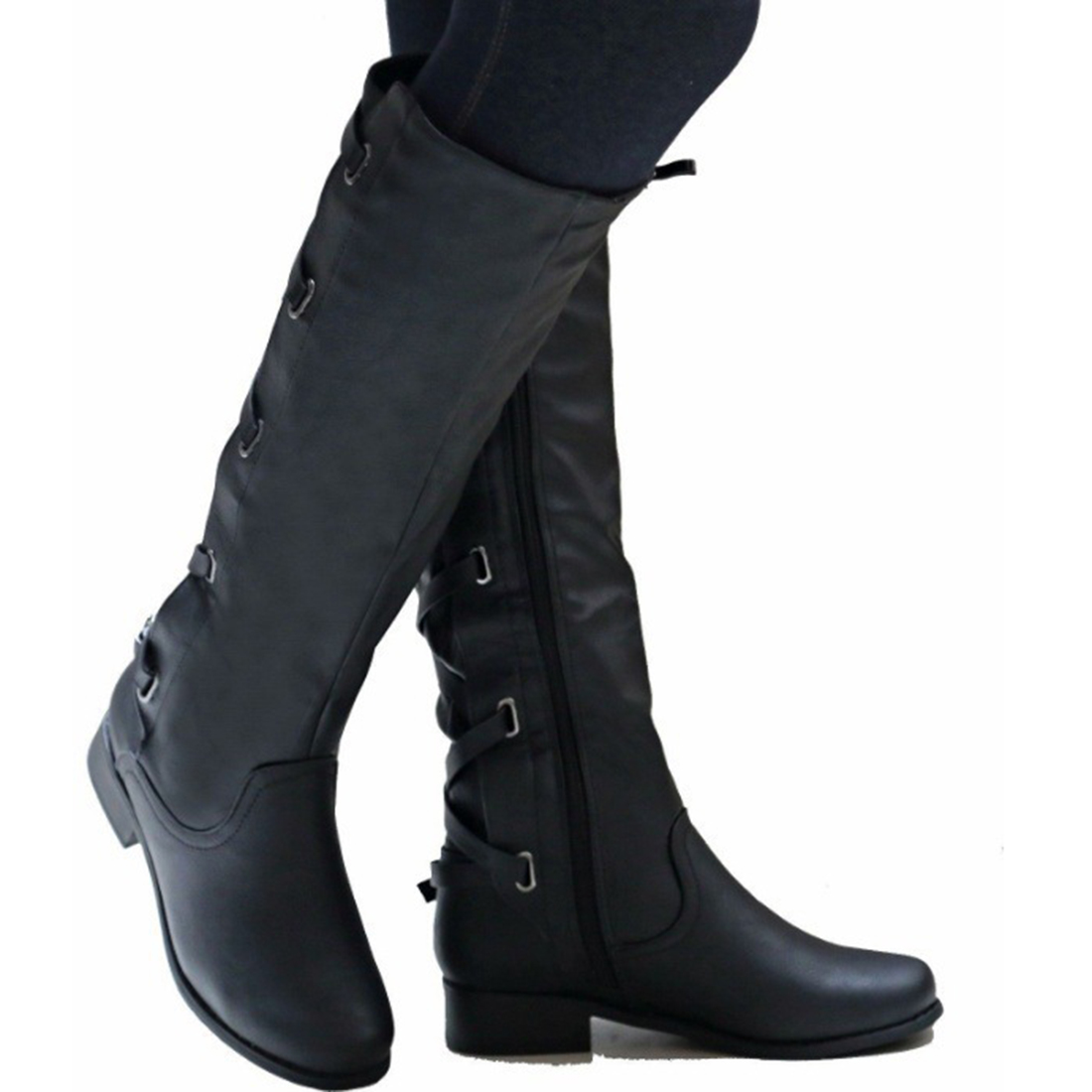 b26304e70a82 Big Size 35 43 Knee High Women Boots Zipper Motorcycle Boots Low Heels  Buckle Cross Tie Platform Shoes Winter Riding Boots-in Knee-High Boots from  Shoes on ...