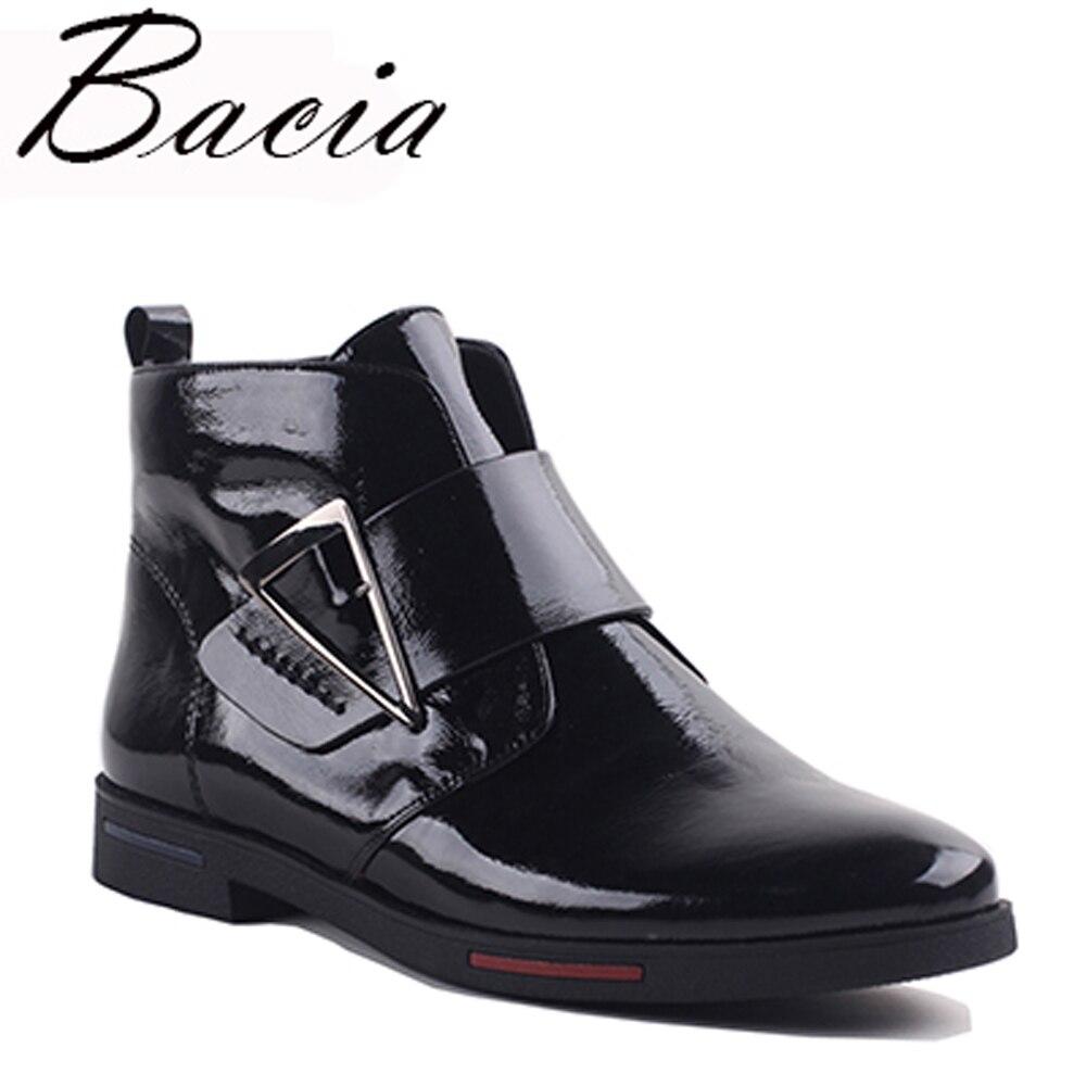 Bacia 2017 Cheville Bottes Femmes De Luxe Véritable Bottes En Cuir À La Main Noir De Mode Automne Bottes Avec Peluche Courte Femmes ShoesVXA019