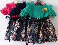 Spring Autumn Baby Girls Floral Print Long Sleeve O Neck Sweet Kids Dress vestidos roupas de bebe