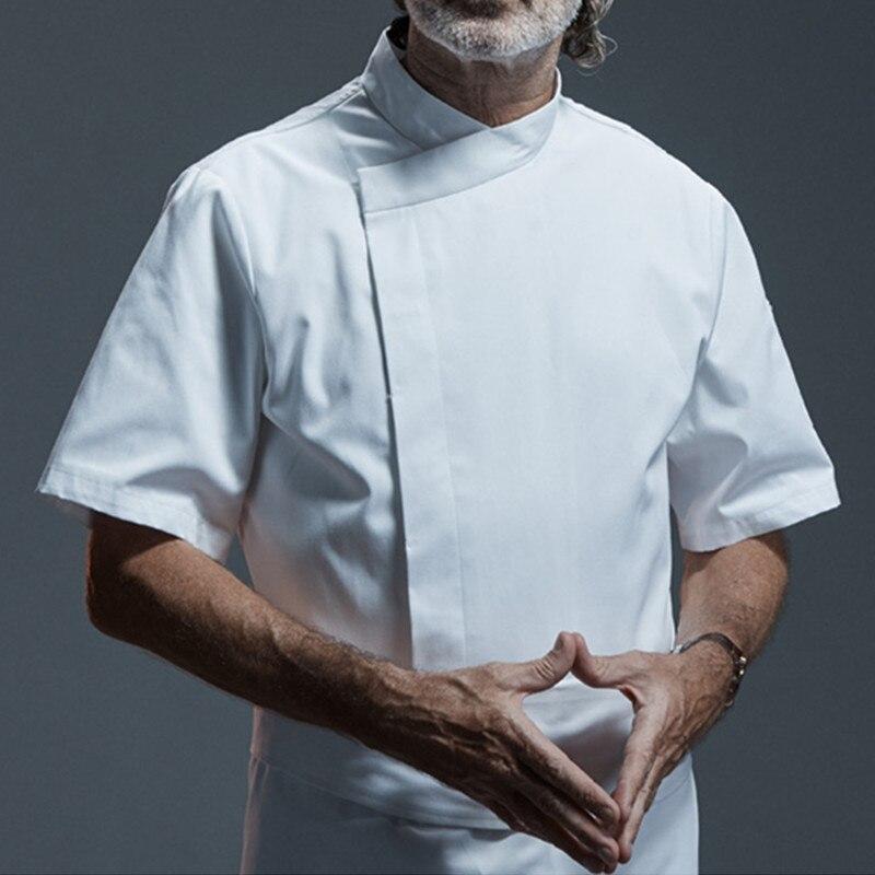White Black Short Sleeve Shirt Hotel Restaurant Kitchen Chef Uniform Barista Bistro Diner Baker Bar Catering Work Wear D38