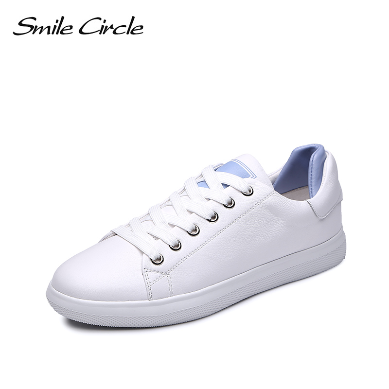 Smile Circle Genuine Leather Sneakers Women white shoes Autumn Fashion Flat Platform sneakers Lace-up casual shoes smile circle genuine leather sneakers women lace up flat shoes women comfortable air cushion sneakers 2018 casual shoes