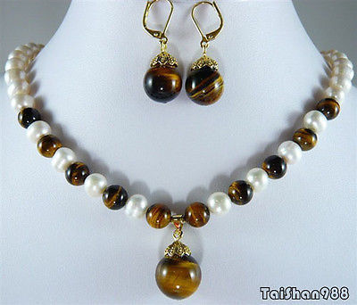 Hot sale Free Shipping >>>>Genuine White Pearl Tigereye Tiger's Eye Opal 18KGP Pendant Necklace Earrings цена