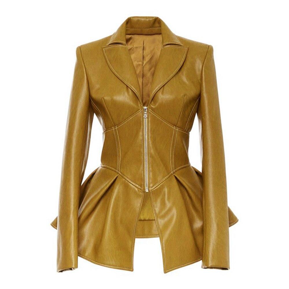Fashion Gothic Faux   Leather   Pu Jacket Fashion Motorcycle Jacket Black Faux Fur Coat Jacket Autumn Winter 2019 Women