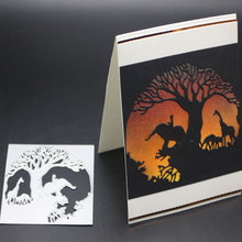 Elephant Tree Metal Cutting Dies Stencil And Stamps For DIY Scrapbooking Embossing Card Making Craft Animals Dies New 2019 metal cutting dies and stamp set for diy scrapbooking embossing animals hugging diy card making cutting crafts stencil dies