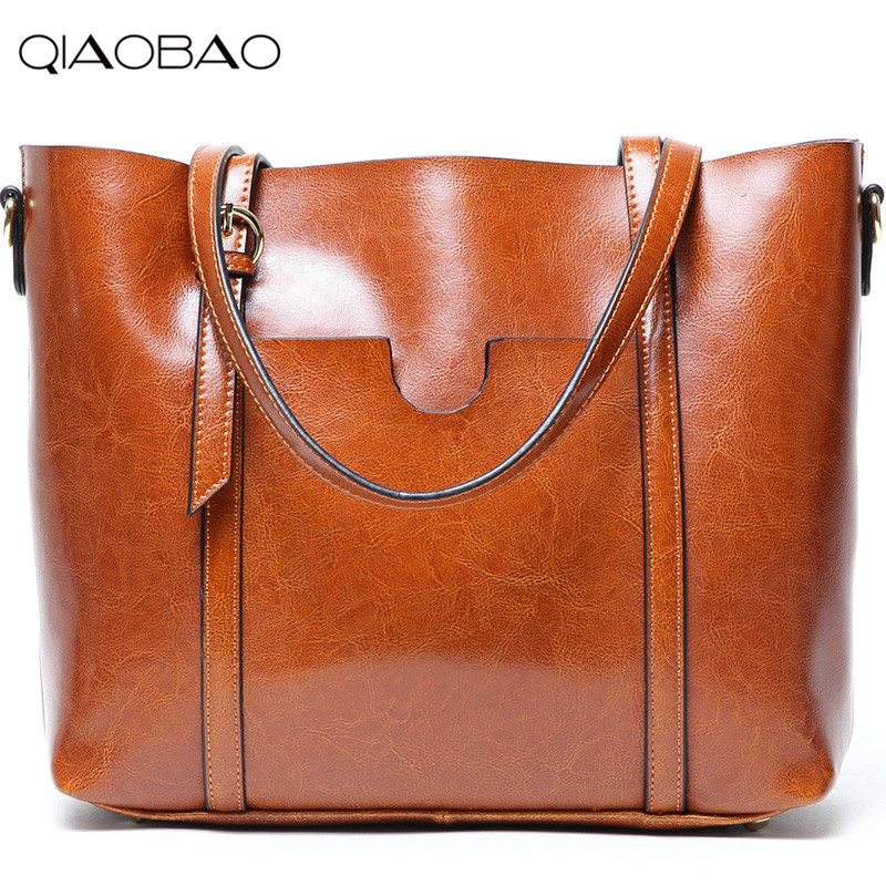 QIAOBAO 100% leather handbags Oil wax cowhide ladies shoulder bag fashion 2017 new leather handbags big totes qiaobao 100% sheepskin bag leather handbags knit big ladies hand bags girls soft genuine leather shoulder bag lady totes