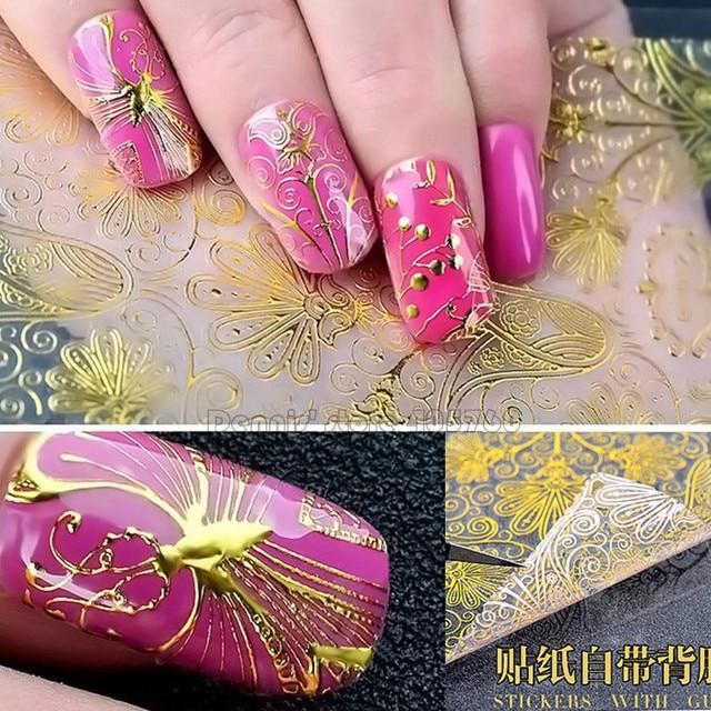 8 Modelslot Vivid Gold Lace Mattelic Floral Pattern Adhesive Nail