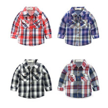 Funfeliz Toddler Boy Plaid Shirt Full Sleeve Polo Shirts for Boys Spring Autumn Kids Blouse Baby Girl White Top 1-8 Years