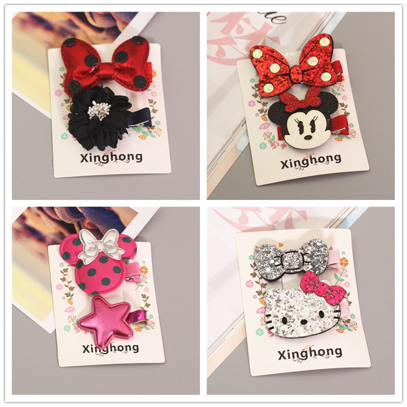 2017 Hello Kitty Minnie Mouse Ears Girls Kids Hair Clips Hairpin Accessories For Children Hair Bow Barrette Hairclip Headdress 5 6pcs lot headwear set children accessories ribbon bow hair clip hairpin rabbit ears for girls princess star headdress t2
