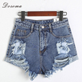 Dosoma Women Denim hole punk With Bustton hollow Shorts Female Summer Hot Korean Style Short Jeans Woman Casua tassel shorts