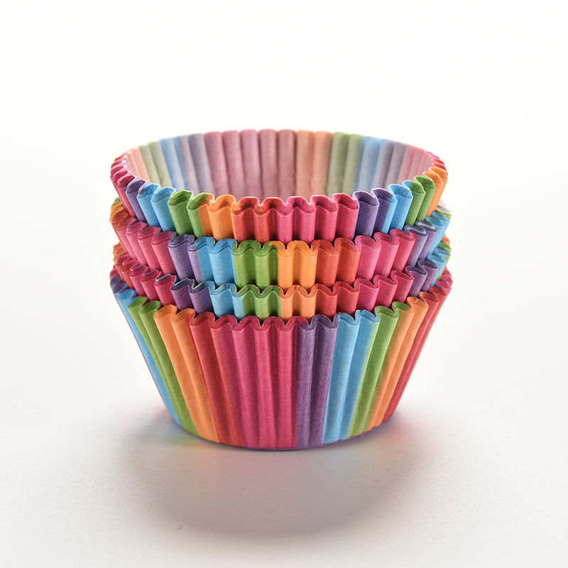 Paper Cupcake Cups : Rainbow color pcs cupcake liner baking cup