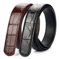 Authentic Real Crocodile Belly Skin Men's Belt without Buckle Genuine Alligator Leather Belt Classical Designer Male Waist Strap