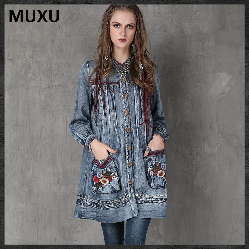 Bleu Robes Broderie Donna Feminina Vintage Denim Vestiti Femmes Muxu Automne Manches Robe Jeans Mujer Moda Longues t0WZgx