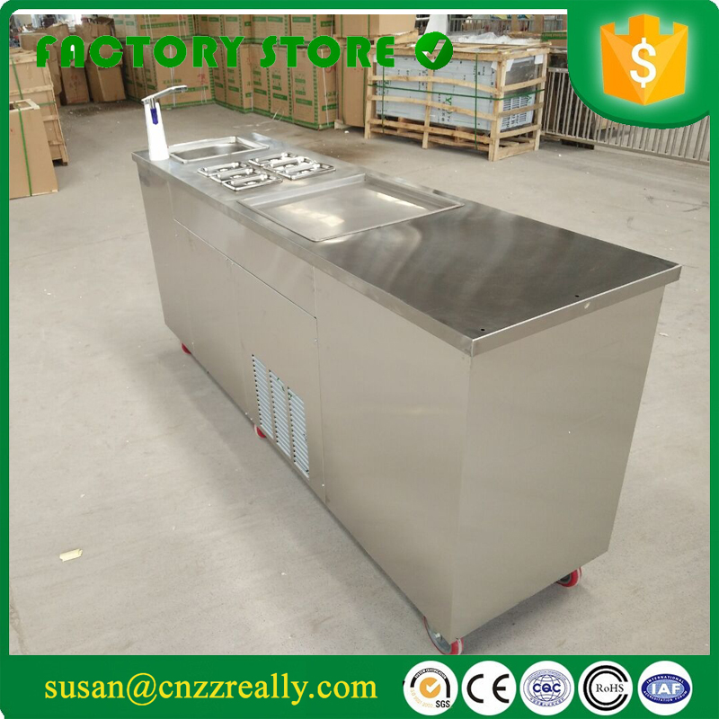 Évier d'eau frit machine à crème glacée petit réfrigérateur et placard frit rouleau de crème glacée à vendre