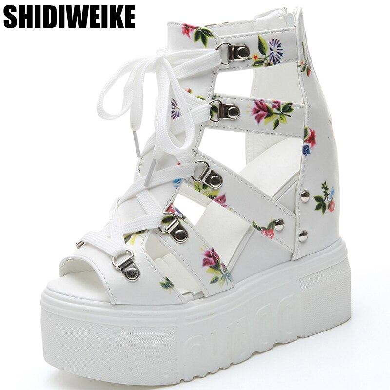 2019 Schuhe Frau Sandalen Sommer Neue Mode Plattform Sandalen Keile Zip Dicken Boden Casual Frauen Schuhe High Heels Alias