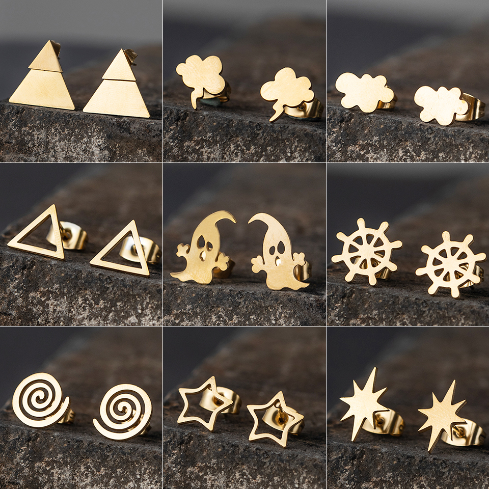 Golden Korean Minimalist Golden Iron Stainless Steel Triangle Stud Earrings For Women Fashion 2019 Jewelry Accessories Gift
