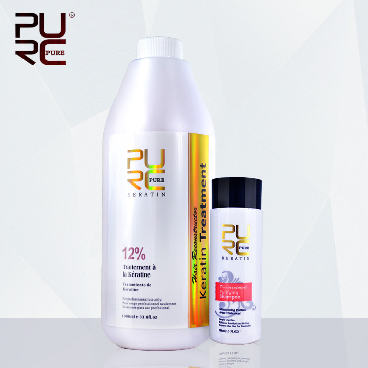 Professional salon hairstyles hair care 12 formalin brazilian keratin treatment and 100ml deep cleaning shampoo wholesale