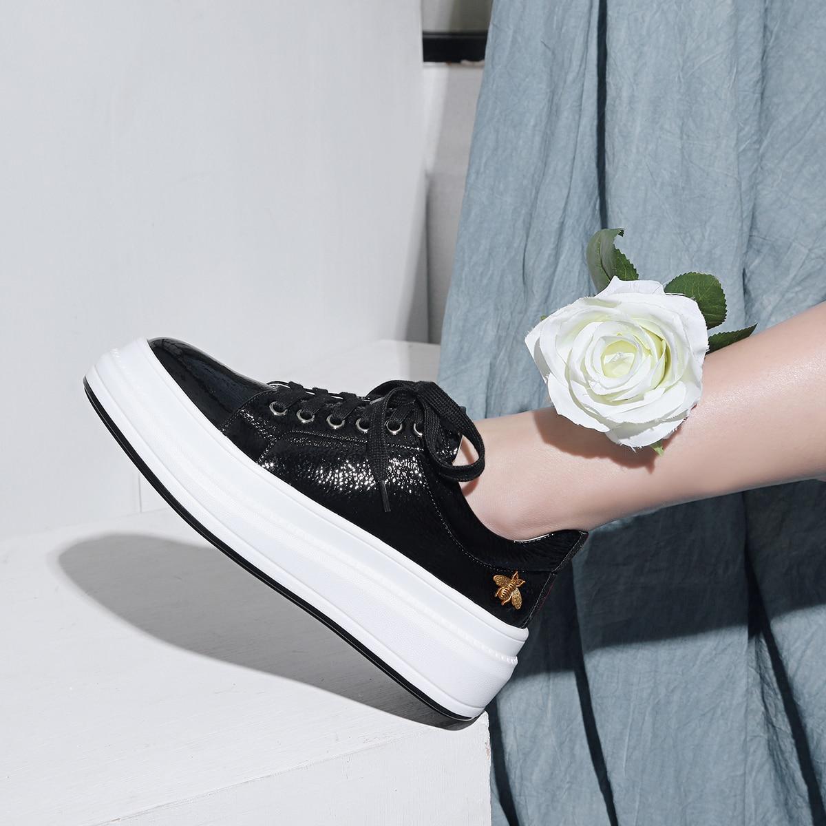 INDACO 2019 femmes baskets cuir blanc chaussures femme chaussures mode 34-40 - 3