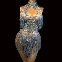 Women Sexy Tassel Bodysuit Sparkling Crystals Jumpsuit Nightclub Party Birthday Dancer Stage Wear Female Singer Fashion Show DJ