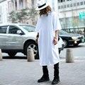 Suelta Extra Grande de Algodón Media Manga Larga Camiseta de Los Hombres de Moda de Lujo Diseñador de la Marca Casual Tee Extendida Camisetas Blanco Negro