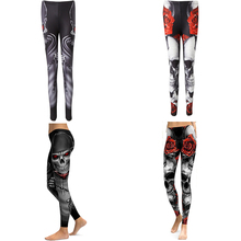 Vintage Skeleton Rose Print Scary Costume Black Skinny Pants Halloween Cosplay Suit Stretchy Outfit COS For Female