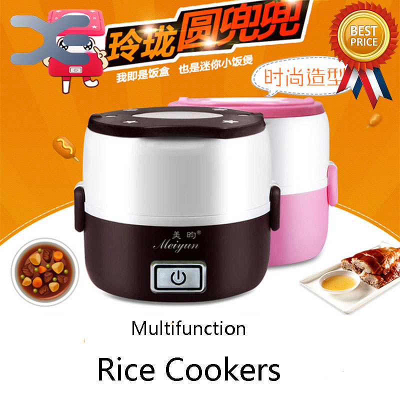 2 Layer Mini Rice Cooker 1.3L Electric Lunch Box Electronic Heating Lunch Box Insulation 1 3l portable electric lunch box double layer insulation food cantainer pluggable heating boiled mini steamed rice cooker