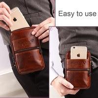 YIANG Men Waist Packs Genuine Leather Cowhide Retro Mobile Phone Bags Belt Clip Bag Fanny Bag