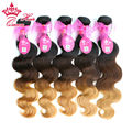 Queen Hair Products Brazilian Ombre Hair Extensions  Brazilian Virgin Hair Body Wave #1B/#4/27 5Bundles Three Tone Human Hair