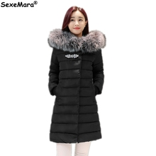 New Fashion Long Winter Jacket Women Slim Solid Hooded Fur Collar Zippers Parkas Fashion Ladies Long Coat Warm Down Jacket