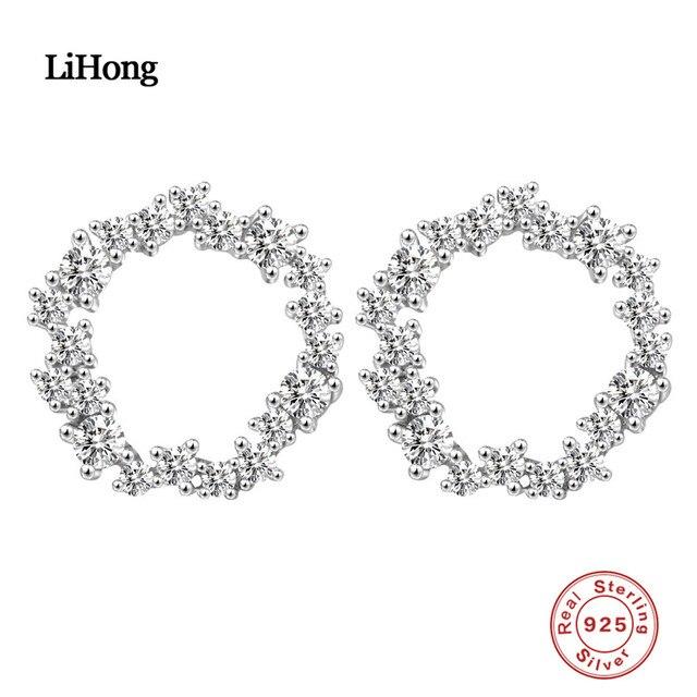 Hot 100%925 Sterling Silver Round Zircon Stud Earrings For Women Trendy Jewelry