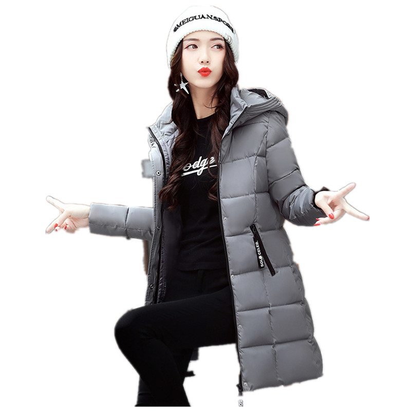 2017 Autumn Winter Jacket Women Slim Hooded Thick Cotton Padded Coat Casual Warm Parka winter clothing for women 71902 four flowers print warm thick cotton padded long coat autumn new casual slim jacket women winter casual outerwear