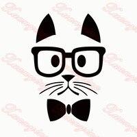 2X2017 горячий автомобиль для укладки Hipster Cat Забавный Автомобиля Стикер Для Автомобилей Боковая Дверь, грузовик Окно, авто Капот Винил Пропуск...