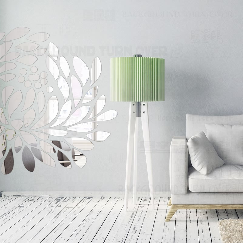 Spring Nature 3D Decorative Tree Mirror Wall Stickers Living Room Bedroom Home Wall Decor Door Tile Sticker Room Decoration R199