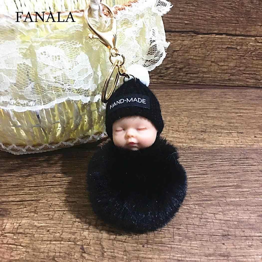 1 PCS New Plush Doll Pingente Da Corrente Chave Corrente Chave Bonito do Sono Do Bebê Boneca de Pelúcia Brinquedo Keychain Car Chaveiro Jóias